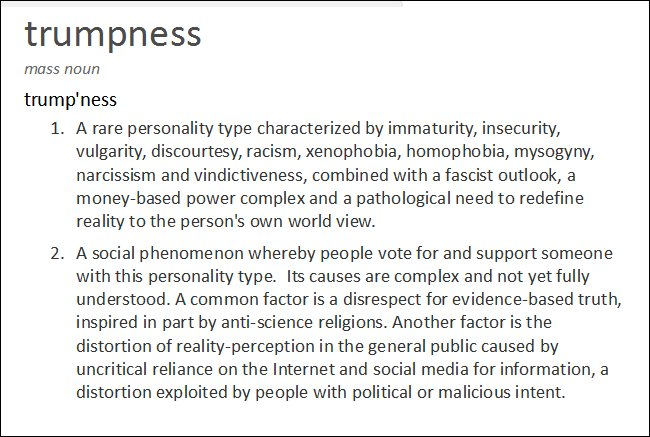 Trumpness rare personality type disrespect for evidence-based truth anti-science religions alt-reality